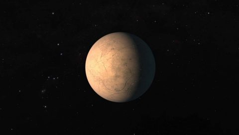This artist's concept shows TRAPPIST-1h, one of seven Earth-size planets in the TRAPPIST-1 planetary system. NASA's Kepler spacecraft, operating in its K2 mission, obtained data that allowed scientists to determine that the orbital period of TRAPPIST-1h is 19 days. (NASA/JPL-Caltech)