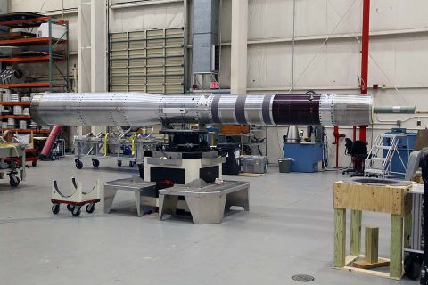 A carbon nanotube Composite Overwrap Pressure Vessel (COPV) is to fly this month as part of the SubTec-7 mission using a 56-foot tall Black Brant IX rocket launched from NASA's Wallops Flight Facility in Virginia. Shown here is the SubTec7 payload undergoing final testing and evaluation at Wallops Flight Facility. (NASA/Berit Bland)