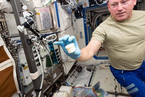 """International Space Station astronaut Barry """"Butch"""" Wilmore holds a science sample container that took two hours to make in December 2014. The container was the first object to be printed with two parts: a lid and a container. (NASA)"""