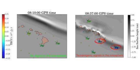 Real-time detection of perturbations of the ionosphere caused by the Oct. 27, 2012, Queen Charlotte Island tsunami off the coast of British Columbia, Canada, using the VARION algorithm. (Sapienza University/NASA-JPL/Caltech)