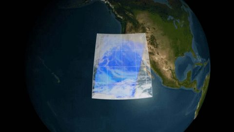 A visualization of AIRS measurements of water vapor in a storm near Southern California. AIRS' 3D maps of the atmosphere improve weather forecasts worldwide. (NASA)
