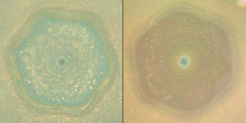 These natural color views from Cassini show how the color of Saturn's north-polar region changed between June 2013 and April 2017, as the northern hemisphere headed toward summer solstice. (NASA/JPL-Caltech/SSI/Hampton Univ.)