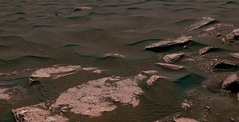 This view from the Mast Camera (Mastcam) on NASA's Curiosity Mars rover shows two scales of ripples, plus other textures, in an area where the mission examined a linear-shaped dune in the Bagnold dune field on lower Mount Sharp in March and April 2017. (NASA/JPL-Caltech/MSSS)