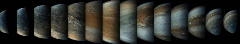 This sequence of enhanced-color images shows how quickly the viewing geometry changes for NASA's Juno spacecraft as it swoops by Jupiter. (NASA/SWRI/MSSS/Gerald Eichstadt/Sean Doran)
