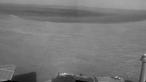 """Perseverance Valley"" lies just on the other side of the dip in the crater rim visible in this view from the Navigation Camera (Navcam) on NASA's long-lived Mars Exploration Rover Opportunity, which arrived at this destination in early May 2017 in preparation for driving down the valley. (NASA/JPL-Caltech)"