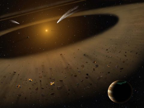 Artist's illustration of the Epsilon Eridani system showing Epsilon Eridani b. In the right foreground, a Jupiter-mass planet is shown orbiting its parent star at the outside edge of an asteroid belt. In the background can be seen another narrow asteroid or comet belt plus an outermost belt similar in size to our solar system's Kuiper Belt. (NASA/SOFIA/Lynette Cook)