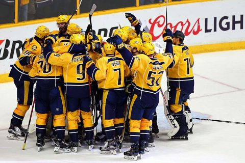 The Nashville Predators celebrate after defeating the Anaheim Ducks in game six of the Western Conference Final of the 2017 Stanley Cup Playoffs at Bridgestone Arena. (Aaron Doster-USA TODAY Sports)