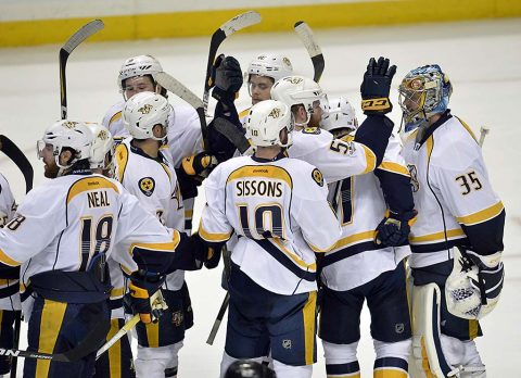 Nashville Predators celebrate the victory against the Anaheim Ducks followng game five of the Western Conference Final of the 2017 Stanley Cup Playoffs at Honda Center. (Gary A. Vasquez-USA TODAY Sports)