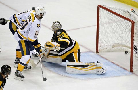 Nashville Predators center Colton Sissons (10) scores a goal past Pittsburgh Penguins goalie Matt Murray (30) during the third period in game one of the 2017 Stanley Cup Final at PPG PAINTS Arena. (Don Wright-USA TODAY Sports)