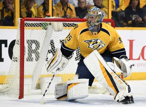 Nashville Predators goalie Pekka Rinne (35) after a save during the second period against the St. Louis Blues in game six of the second round of the 2017 Stanley Cup Playoffs at Bridgestone Arena. (Christopher Hanewinckel-USA TODAY Sports)