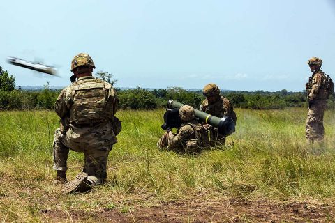 U.S. Army Soldiers assigned to the 1st Battalion, 506th Infantry Regiment, 1st Brigade Combat Team, 101st Airborne Division fire a Javelin shoulder-fired anti-tank missile during United Accord 2017 at Bundase Training Camp, Bundase, Ghana, May 29, 2017. (U.S. Army photo by Spc. Victor Perez Vargas)