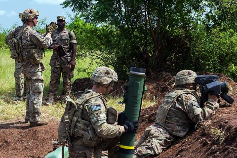 U.S. Army Soldiers assigned to the 1st Battalion, 506th Infantry Regiment, 1st Brigade Combat Team, 101st Airborne Division observe the range in preparation to fire a Javelin shoulder-fired anti-tank missile during United Accord 2017 at Bundase Training Camp, Bundase, Ghana, May 29, 2017. (U.S. Army photo by Spc. Victor Perez Vargas)