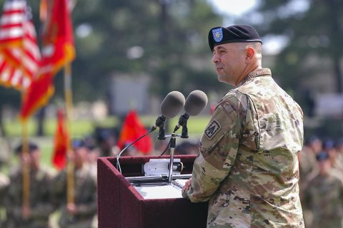Lt. Col. James Reese, outgoing commander of the 2nd Battalion, 44th Air Defense Artillery Regiment, assigned to the 108th ADA Bridge, and attached to the 101st Airborne Division (Air Assault) Sustainment Brigade, 101st Abn. Div., looks at the audience, June 21, 2017, during his speech during the battalion's change of command ceremony at the division parade field on Fort Campbell, Kentucky. (Sgt. Neysa Canfield/101st SBDE Public Affairs)