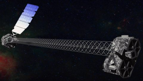 This artist's concept shows NASA's Nuclear Spectroscopic Telescope Array (NuSTAR) spacecraft on orbit. (NASA/JPL-Caltech)