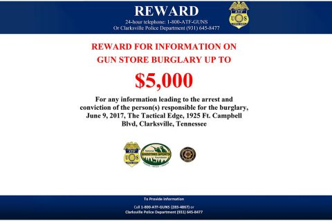 ATF offers Reward for Theft of Firearms in Clarksville
