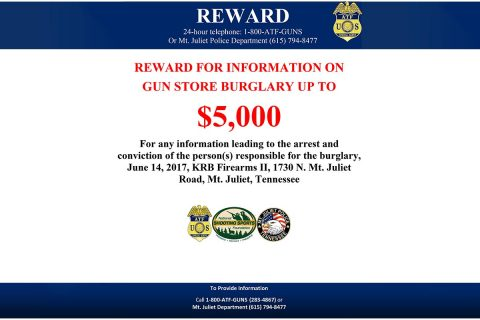ATF offers reward in Mt. Juliet Gun Store Burglary