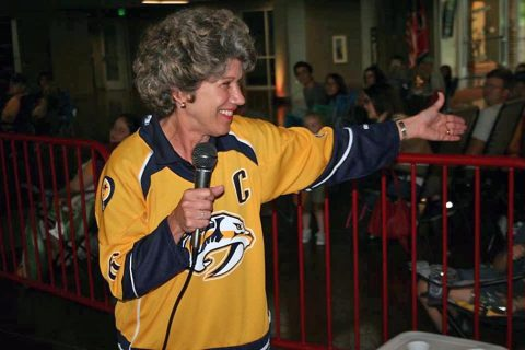 Clarksville Mayor Kim McMillan at the City's Nashville Predators viewing party.
