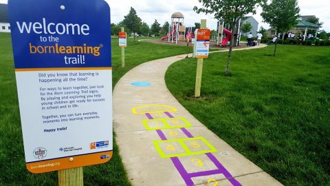 A Born Learning Trail like this one will be installed at Liberty Park. The program was created by United Way Worldwide to promote activity and early learning opportunities for young children.