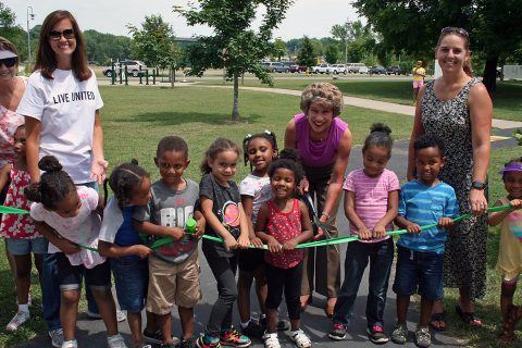 Youngsters from the Lafayette Road Head State gathered Wednesday with Clarksville Mayor Kim McMillan at Liberty Park for the grand opening of the Born Learning Trail, a United Way sponsored interactive set of activities for young children and their caregivers.
