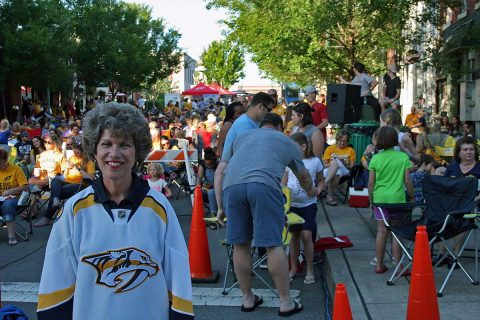 Clarksville Mayor Kim McMillan at Wednesday's Nashville Predators Viewing Party for Game 2.