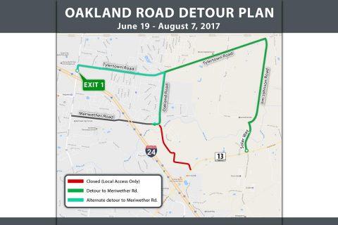 Clarksville's Oakland Road Detour Plan