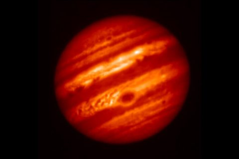 This false-color image of Jupiter was taken on May 18, 2017, with the Subaru Telescope in Hawaii, using a mid-infrared filter centered at a wavelength of 8.8 microns. The Great Red Spot appears at the lower center of the planet as a cold region with a thick cloud layer.