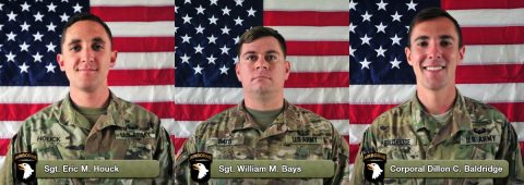 Sgt. Eric M. Houck, Sgt. William M. Bays, and Corporal Dillon C. Baldridge were killed June 10th, 2017 in Afghanistan.