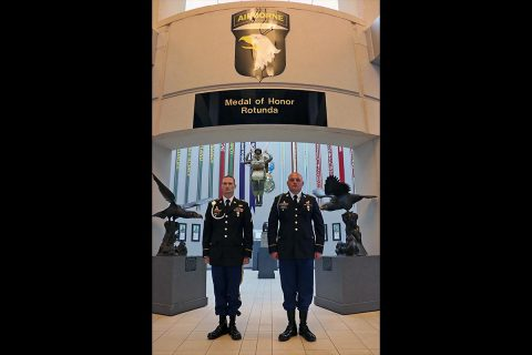 Sgt. Michael Smith, left, a senior transmission systems operator/maintainer assigned to 58th Signal Company, 101st Airborne Division (Air Assault) Sustainment Brigade was named Noncommissioned Officer of the Year for the 101st Airborne Division (Air Assault). (Staff Sgt. Todd L. Pouliot/40th Public Affairs Detachment)