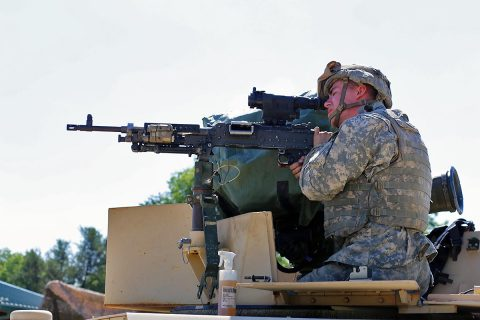 A Soldier with the 1st Battalion, 178th Infantry Regiment of the Illinois National Guard who is at Fort McCoy for training in the Exportable Combat Training Capability (XCTC) Exercise prepares a weapon for gunnery training at Range 26 on June 9, 2017, at Fort McCoy, WI. (Scott T. Sturkol, Public Affairs Office, Fort McCoy, WI)