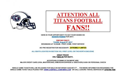 "Fort Campbell Tennessee Titans ""Eagle Zone"" Ticket Sale"