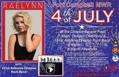 Fort Campbell to hold Independence Day Concert and Celebration, July 4th, 2017.