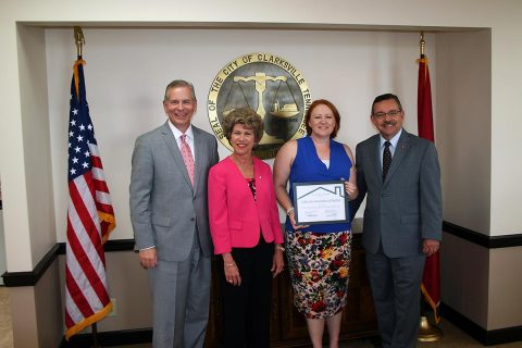 Tennessee State Representative Joe Pitts, left, joins Clarksville Mayor Kim McMillan, Clarksville Association of Realtors Director Deb-Haines Kulick and THDA Executive Director Ralph Perrey at a 'Thank You Clarksville' reception to honor the work of local lenders and realtors who have helped homebuyers obtain $3.75 million in THDA loan assistance since March 1st.