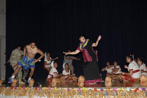 Leafaina O. Yahn, Chief of Staff for Congresswomen Aumua Amata Coleman Radewagen of American Samoa, dances with the 101st Screaming Eagle Dance Group, May 31, 2017, at Wilson Theater. The Taualuga, which is performed to symbolize the end of the performance, concluded the Asian American Pacific Islander Heritage month observance hosted by the 101st Airborne Division (Air Assault) Sustainment Brigade, 101st Abn. Div. (Sgt. Neysa Canfield/ 101st SBDE Public Affairs Office)