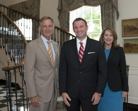 (L to R) Tennessee Governor Bill Haslam, Montgomery County Health Director Joey Smith and First Lady Crissy Haslam.
