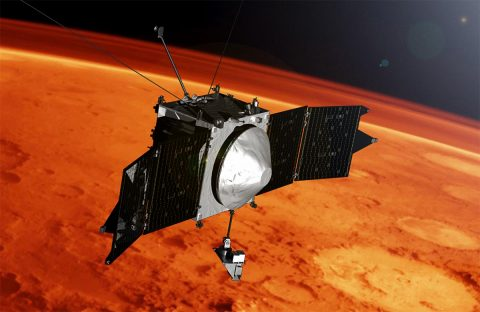 This artist concept shows the MAVEN spacecraft and the limb of Mars. (NASA's Goddard Space Flight Center)