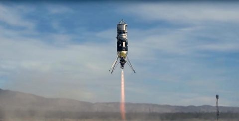 A rocket flying several landing technologies was recently flown in the Mojave Desert. These flight tests, coordinated by NASA, are helping to develop technology for precise landings in uneven terrain. (NASA/JPL-Caltech)