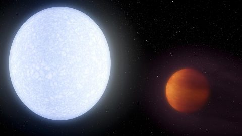 This artist's concept shows planet KELT-9b orbiting its host star, KELT-9. It is the hottest gas giant planet discovered so far. (NASA/JPL-Caltech)