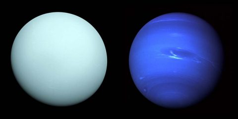 Left: Arriving at Uranus in 1986, Voyager 2 observed a bluish orb with subtle features. A haze layer hid most of the planet's cloud features from view. Right: This image of Neptune was produced from Voyager 2 and shows the Great Dark Spot and its companion bright smudge. (Left: NASA/JPL-Caltech - Right: NASA)