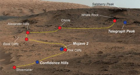 "NASA's Curiosity Mars rover examined a mudstone outcrop area called ""Pahrump Hills"" on lower Mount Sharp, in 2014 and 2015. This view shows locations of some targets the rover studied there. The blue dots indicate where drilled samples of powdered rock were collected for analysis. (NASA/JPL-Caltech/MSSS)"