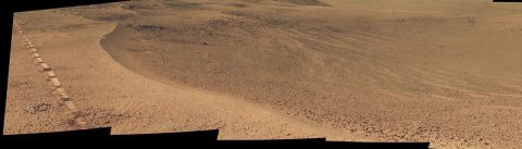 NASA's Opportunity Mars rover passed near this small, relatively fresh crater in April 2017, during the 45th anniversary of the Apollo 16 mission to the moon. (NASA)