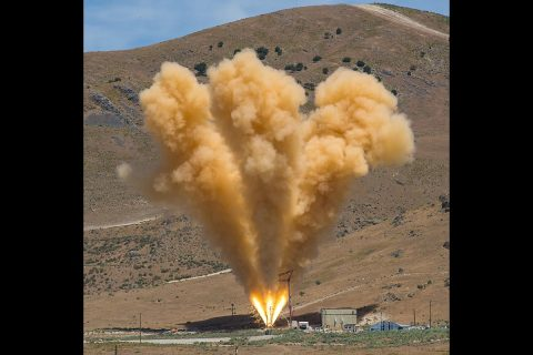 The abort motor for Orion's launch abort system fired for five seconds in a test at the Promontory, Utah facility of manufacturer Orbital ATK. (Orbital ATK)