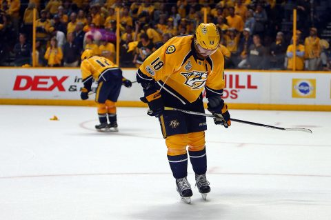 Nashville Predators left wing James Neal (18) and center Mike Fisher (12) react after an empty net goal by Pittsburgh Penguins left wing Carl Hagelin (not pictured) in the third period in game six of the 2017 Stanley Cup Final at Bridgestone Arena. (Jerry Lai-USA TODAY Sports)