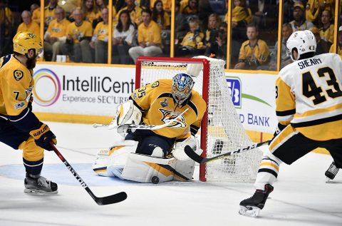 Nashville Predators goalie Pekka Rinne (35) makes a save against Pittsburgh Penguins left wing Conor Sheary (43) during the third period in game three of the 2017 Stanley Cup Final at Bridgestone Arena. (Christopher Hanewinckel-USA TODAY Sports)