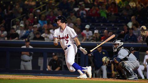 Nashville's Matt Chapman Drills his 12th Home Run of the Season but Sounds Come Up Short. (Nashville Sounds)