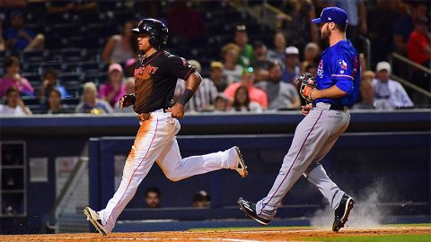 Round Rock Express' Travis Snider's Two-Run Double in the Ninth Provides the Difference. (Nashville Sounds)
