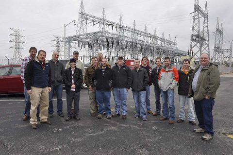 U.S. Army Corps of Engineer, Nashville District employees Michael Looney, Natural Resource program manager at the Lake Barkley Resource Center, Bob Sneed, Chief of Water Management and Jamie Holt, a power project specialist at the Lake Barkley power plant welcomed nine students and four faculty from the University of Tennessee at Martin Hydrology and Hydraulics class for a Science, Technology, Engineering and Math to tour today at the Lake Barkley Resource Center, Lock and Dam. (Mark Rankin, USACE)
