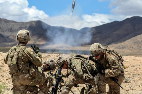 Mortar men with 1st Battalion, 26th Infantry Regiment, 2nd Brigade Combat Team, 101st Airborne Division, from Fort Campbell, Kentucky, conduct live fire exercise during Network Integration Evaluation 17.2, July 14, Dona Ana Range Complex, New Mexico. 2nd BCT, 101st ABN DIV is the first rotational unit to participate in NIE. (Sgt. Maricris C. McLane)