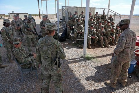 Soldiers from 526th Support Battalion, 2nd Brigade Combat Team, 101st Airborne Division getting briefed prior to conducting Convoy Escort Team training during Network Integration Evaluation 17.2 at Fort Bliss, Texas, July 14, 2017. (Pfc. Isaiah Scott)