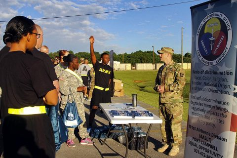 "Sgt. 1st Class Douglas Duncan (right), the equal opportunity advisor for the 101st Airborne Division (Air Assault) Sustainment Brigade ""Lifeliners,"" 101st Abn. Div., talks to the Soldiers of the brigade, June 27, 2017, on Fort Campbell, Kentucky, about the classes he will instructing during ""Not In My Squad"" week. (Sgt. Neysa Canfield/101st SBDE Public Affairs)"