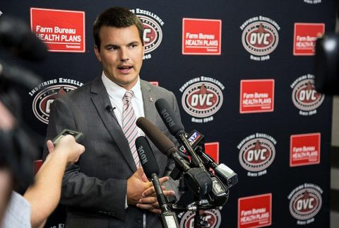 Austin Peay Football head coach Will Healy at OVC Media Day. (APSU Sports Information)